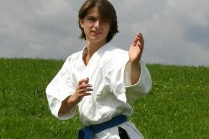 Young Man in Karate Pose